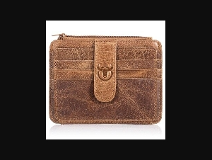 BULLCAPTAIN Men Wallet Business Card Holder leather bus card holder Slim leather multi-card-bit