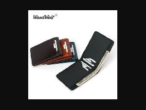WardWolf Bifold Slim Purse Wallet for Mens Genuine Leather Male Short Men Wallet Card Holder RFID Blocking Black Brown