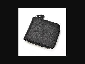 MAHEU Black Soft Genuine Leather Short Wallet Zip Card Purse With Coin Photo Pocket Men Women Male Female Short Pocket Wallet